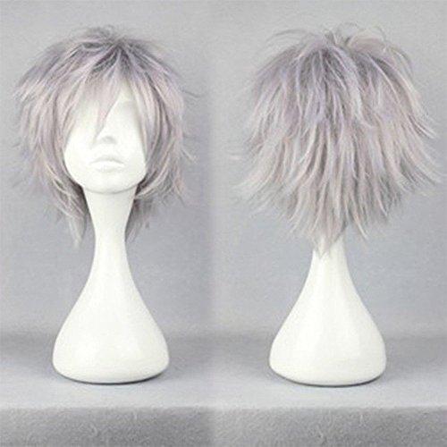 S-noilite® - Parrucca per capelli corti e lisci, unisex, per feste, cosplay, per donne, uomini, ragazzi, ragazze (grigio argento)