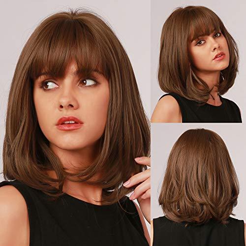 HAIRCUBE Parrucche corte naturali per donna Parrucche marrone chiaro con frangia Fibra resistente al calore Parrucche sintetiche Microroll Uso quotidiano