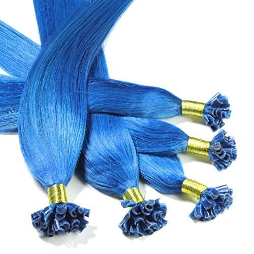 Hair2Heart 25 x 0,5g Extension Capelli Veri Cheratina - 30cm, Colore #Blu, liscio