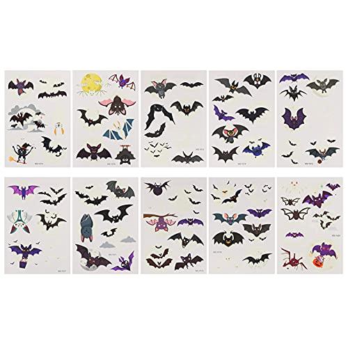 Lurrose 10 Fogli di Halloween Bat Autoadesivi Del Corpo di Tatuaggi Temporanei Glow in The Dark Del Tatuaggio Fluorescente Adesivi Pipistrello Puntelli per Il Partito Horror Cosplay