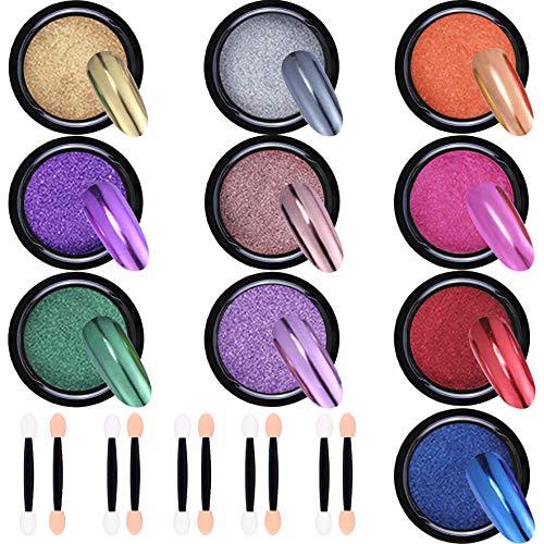 Duufin 10 Scatole Effetto Specchio Glitter a Specchio Polvere Polvere per Unghie per Unghie Nail Art