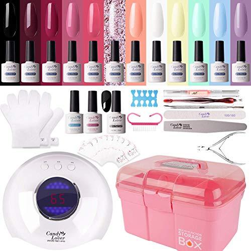 Kit di manicure per smalto gel – Candy Lover 36 W UV LED lampada per asciugare le unghie 15 pz smalto semipermanente set base top coat Nail Art accessori set set 02