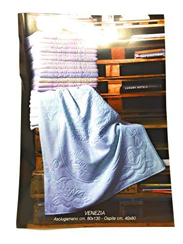 BESANA Set Asciugamani 6+6 Art. Venezia in Pura Spugna idrofila Lavorazione Jacquard Misura Maxi in 6 Colori Assortiti