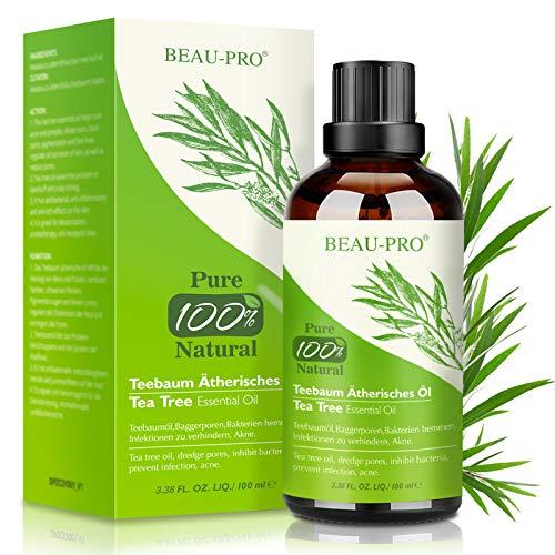 Tea Tree Oil 100 ML Olio Essenziale Tea Tree Puro 100% - Olio Tea Tree Anti Acne, Brufoli, Punti Neri, Capelli, Unghie e Corpo - Olio Essenziale di Albero del Tè per Aromaterapia Diffusore Massaggio
