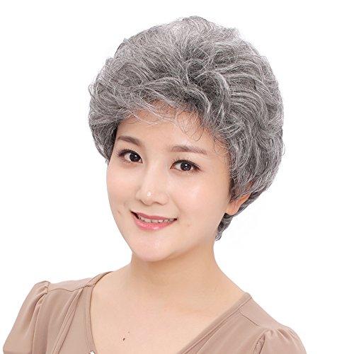 Bestung Short grigio argento Fluffy Little parrucche sintetiche ondulate mamma grigio costume parrucche per vecchio medio età da donna ufficio Lady