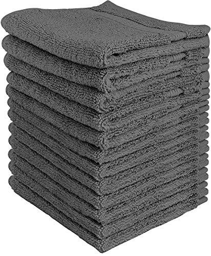 Utopia Towels - Set di strofinacci Premium (12 Pack, 30 x 30 cm) - 600 GSM 100% cotone flanella viso panni, altamente assorbente e morbido sentire asciugamani punta delle dita, (Grigio)