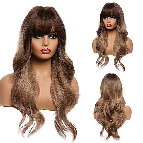 Esmee Parrucca Marrone sfumato Marrone chiaro da 24 pollici,parrucca sintetica resistente al calore a ricci lunghi per donna(con frangia)