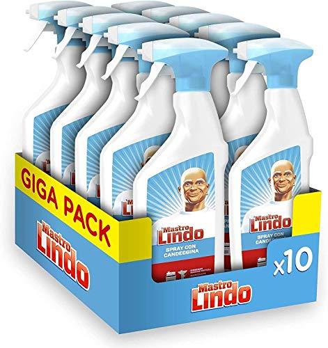 Mastro Lindo Detersivo Spray Igienizzante Candeggina, 10 Confezioni (10 x 500 ml), Eucalipto, Maxi Formato, Rimuove le Macchie Difficili, Germi e Batteri, Igienizza le Superfici