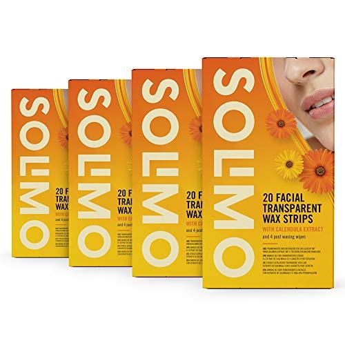 Marchio Amazon - Solimo - Strisce depilatorie trasparenti viso con estratto di calendula con 4 salviette post depilazione, Confezione da 4x20 strisce