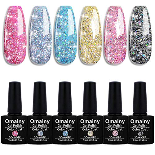 Omainy Smalto Semipermanente Smalti Semipermanenti Per Unghie Nail Polish UV LED Gel Unghie (Kit di 6 pcs 7.3ML/pc) 009