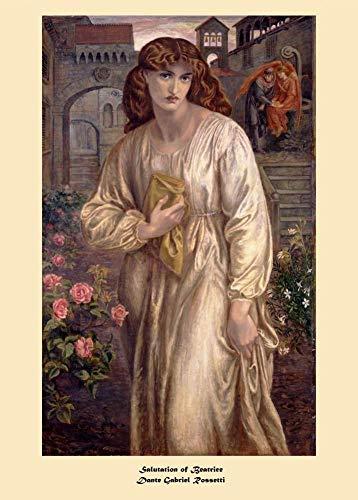 Dante GABRIEL ROSSETTI Salutation of Beatrice c1859 250 gsm Gloss Art Card A3 Riproduzione Poster