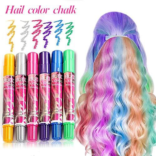 Capelli Gesso, Capelli Temporanea Gesso, 6 Colore Hair Chalk Capelli Tintura Temporanea Colorato per Kid Girls party e cosplay DIY festival Dress Up funziona su tutti i colori di capelli