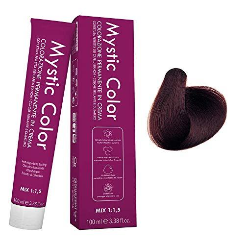 Mystic Color - Colore Mogano Chiaro 5.5 - Tinta per Capelli - Colorazione Professionale in Crema a Lunga Durata - Con Cheratina Idrolizzata, Olio di Argan e Calendula - 100 ml