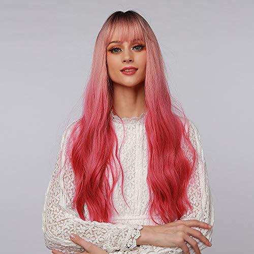 HAIRCUBE Parrucche sintetiche lunghe ondulate Mix Radice nera Ombre Parrucche da sfumature rosa a rosse Parrucche da festa cosplay con frangia leggera per donne bianche Capelli finti da donna