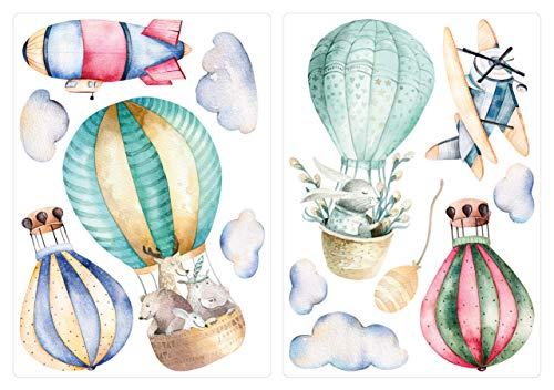 dekodino® Adesivo murale Acquerello animali in mongolfiera set decorazione