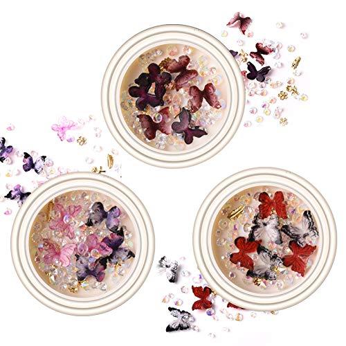 LOCINTE 3 Scatole Decorazioni Unghie Nail Art Farfalla 3D Miste Decorazioni Ornamenti Decorazioni per Unghie Multicolore Fai da Te