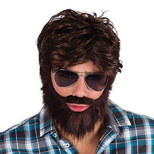 Boland 86312 - Dude Parrucca Uomo con Barba e Baffi, Castano