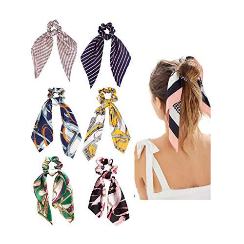DRESHOW Fiocco di fiori annodato a fascia Boho Fascia per capelli floreale Fascia per viso avvolgente Asciugamano Yoga Fascia per doccia sportiva 6 pacchi (6 pacchi per capelli Sciarpe B)