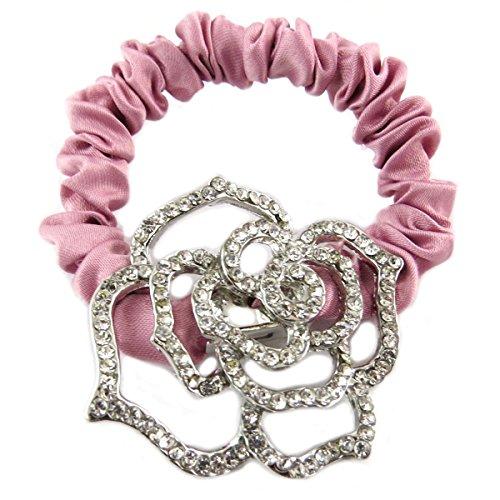 Les Trésors De Lily [Q0109] - Designer pet 'Sissi' rosa argento (satinato)- larghezza 1 cm, fiore 4,5x4 cm.
