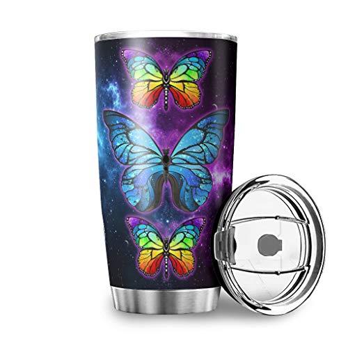 MiKiBi-77 - Bicchiere in acciaio INOX con farfalla e nebulizzatore con isolamento sottovuoto, resistente, con coperchio a prova di spruzzi, 600 ml, colore: Bianco