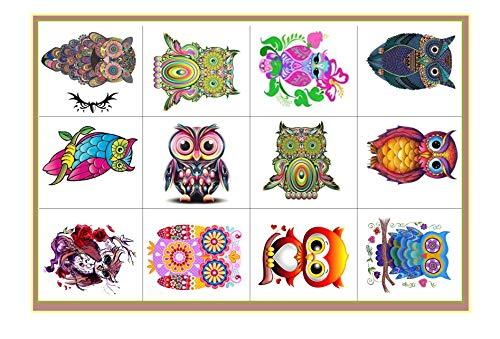 Collezione di tatuaggi temporanei Temporary Tattoos collection (gufo colorato Tatuaggio colourful owl Tattoo)