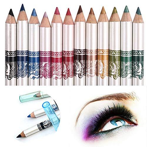 CINEEN 12 colori Matita per occhi lunga lunghezza Matita per labbra Matita per sopracciglia impermeabile Set da colorare Kit per trucco