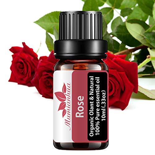 Olio essenziale di rosa 100% puro olio aromaterapico alla rosa Olio floreale profumato alla rosa Mumianhua 10ml olio di rosa biologico per diffusore, casa, produzione di sapone e candele, pelle
