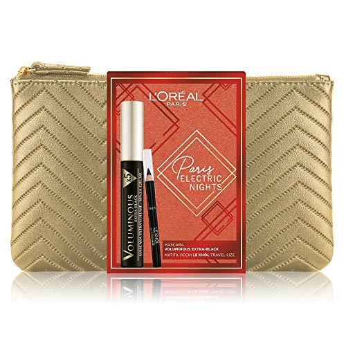 L'Oréal Paris Makeup Cofanetto Idea Regalo Donna, Mascara Volumizzante Allungante Voluminous Extra Black e Matita Occhi Le Khol, Travel Size