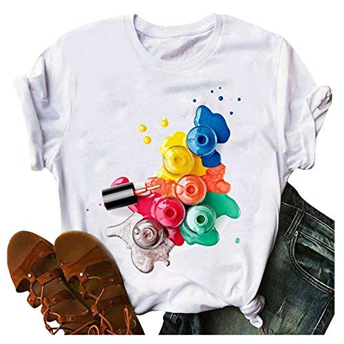 T-Shirt Moda Semplice da Donna Estiva Top Smalto per Unghie Cosmetici Parole Stampate T-Shirt Moda Fiore