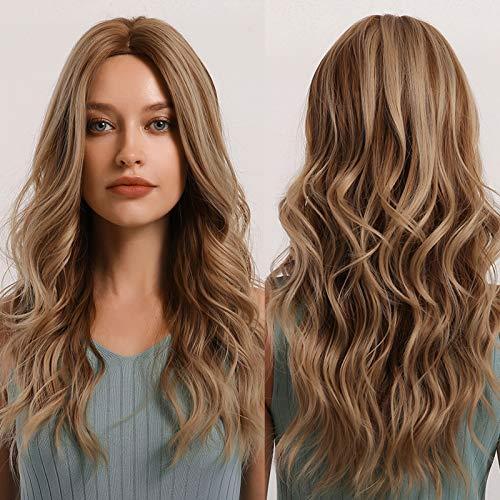MISHAIR Parrucche Donna Marrone Parrucca lunga capelli lunghi mossi Cosplay Wigs Anime Ragazze Capelli castani
