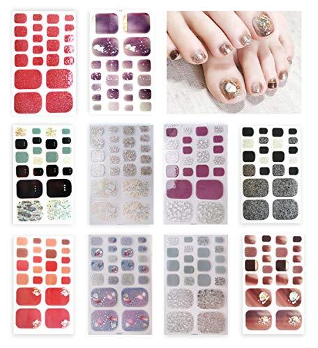 Keleily 10 fogli adesivi per unghie dei piedi, decalcomanie per unghie autoadesive set di decorazioni, con paillettes, bagliori, foglia doro, perle e strass per ragazze donne, modello casuale
