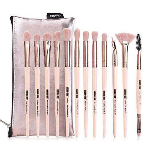 Set da 12 Pennelli Professionali per Make-up, tra cui Pennello per Ombretto, Pennello per Fard, Pennello per Correttore, Pennello per Labbra, Pennello per Sopracciglia