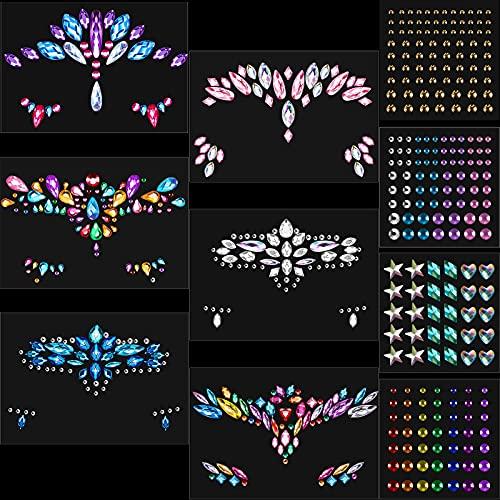 10 Fogli Gemme di Strass per Viso Adesivi con Gioielli da Sirena Glitterati Sticker con Tatuaggi Temporanei Lacrime di Cristallo Pietre Preziose per Occhi Corpo per Festa (Stile Chic)