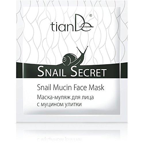 TianDe - Maschera per il viso con bava di lumaca, polvere di boccioli di rosa giapponese, peptidi di avena e acido ialuronico, confezione da 10ml