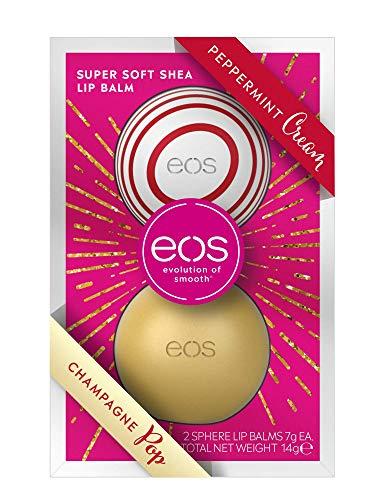 Eos, Winter Edition Duo Set Lip Balm Sphere Box, burrocacao: Peppermint Cream e Champagne Pop, burrocacao idratante, idea regalo per Natale, set da 2 pezzi