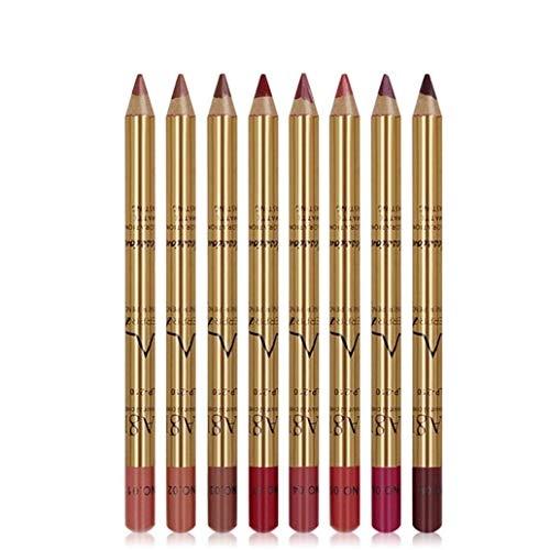 Naicasy 8PCS Lip Liner Pencil Kit Waterproof Lip Liner duraturo Retro Rossetto Penna con Oro Tubo Labbra a Prova di Sudore Smooth Cosmetic Set