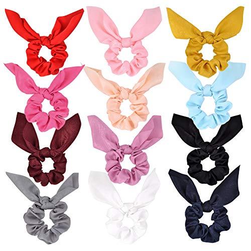 Confezione da 12 elastici per capelli in chiffon, per coda di cavallo, morbidi ed eleganti, ideali come regalo per il giorno del Ringraziamento