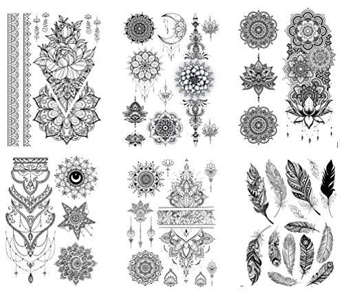 6 fogli di tatuaggi a forma di mandala per tatuaggi, set Kira 6