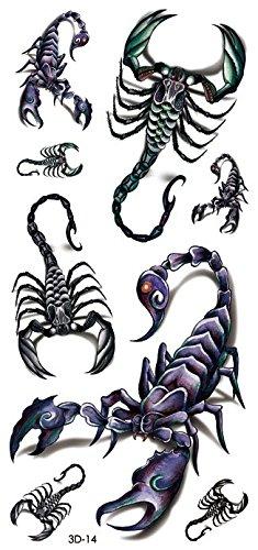 3D-14 - Tatuaggi adesivi per il corpo con scorpioni neri, effetto 3D, da uomo
