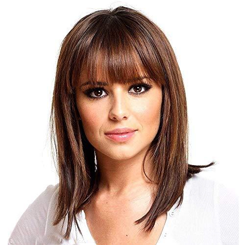 HAIRCUBE Parrucche marroni Parrucche castano chiaro Parrucche di media lunghezza per le donne Parrucche di capelli umani Parrucca sintetica sana Miscela con frangia Uso quotidiano