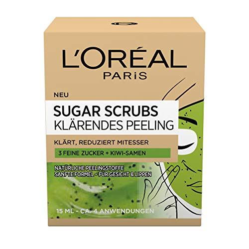 L'Oréal Paris Sugar Scrubs - Maschera per il viso con semi di kiwi, esfoliante, confezione da 2 (2 x 15 ml)