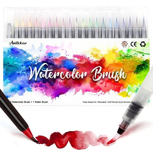 Amteker Brush Pen Lettering 24 Acquerelli Professionali + 1Testina Morbida , Pennarelli Lettering Professionali Acquerellabili, Brush Pen Set per Lettering, Calligrafia, Disegno a Colori
