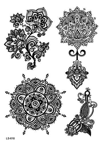 HXMAN Nuovo Trend Nero Temporaneo Arabo Lace Henna Tattos Adesivo Choker Falso Tatuaggio Flash Tattoo Sticker Sticker(2 Pack) LS618d
