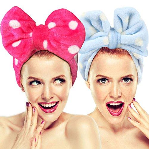 Hairizone - Set di 2 fasce elastiche per capelli con fiocco, per lavare il viso, trucco, doccia, terme, massaggi e sport.