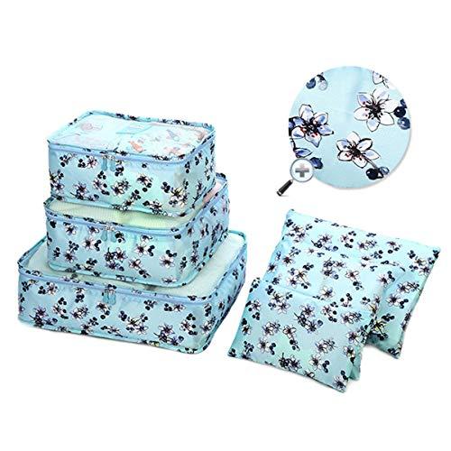 Mood Milano - Travel Kit Organizer set valigia a fantasia con portascarpe, laundry bag, necessaire, beauty e 2 pochette (fiori azzurro)