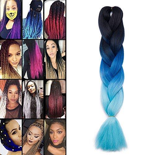 Elailite Extension Treccine Afro Trecce Africane Capelli Sintetici per Treccia Finta Braids Braiding Braids Hair una Ciocca 60cm 100g, 48# Nero/Dark Blu/Blu