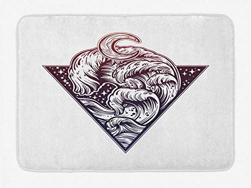 Tappetino da bagno con tsunami, stile arte del tatuaggio, onde di marea moderne nella notte, design del cielo con stelle di mare tempestoso, peluche per arredo bagno con rivestimento antiscivolo, sigi