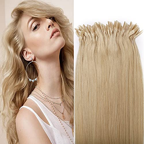 Silk-co 55cm Cheratina Extension Capelli Veri #60 Biondo Platino 1g/Ciocche U Tip Remy Human Hair Extension Capelli Umani Lunghi con Keratina