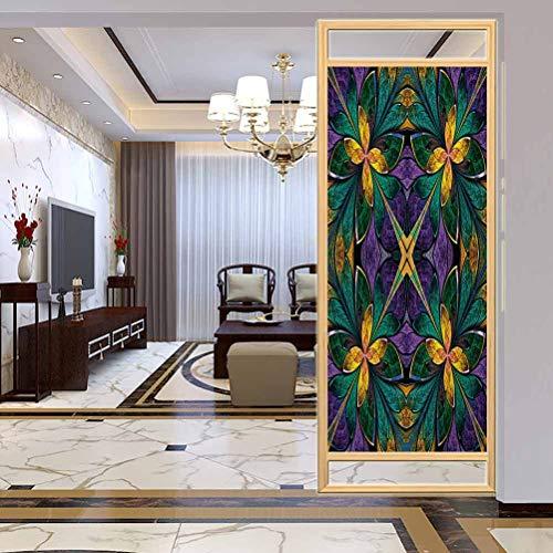 Pellicola autoadesiva per finestra di casa per ufficio Fractal Antique Ornate Symmetric Smaltato Glass Mosaic W, pellicola di vetro privacy per casa e ufficio, 40 x 180 cm