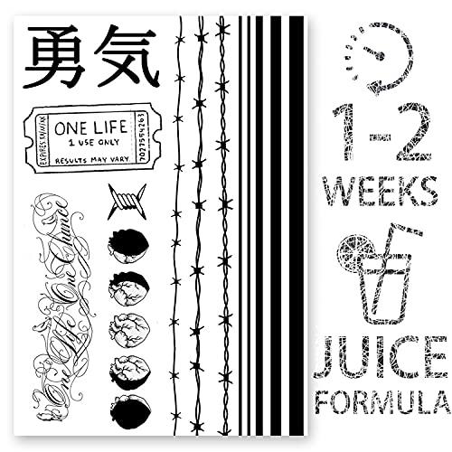 AWAKEN Tatuaggi Temporanei Finti Tattoo Juice Uomo Donna Braccio Adesivi a base Vegetale dura 1-2 Settimane Linee Strisce Bracciale Filo spinato Nero ideogramma Giapponese (Disegno 10)